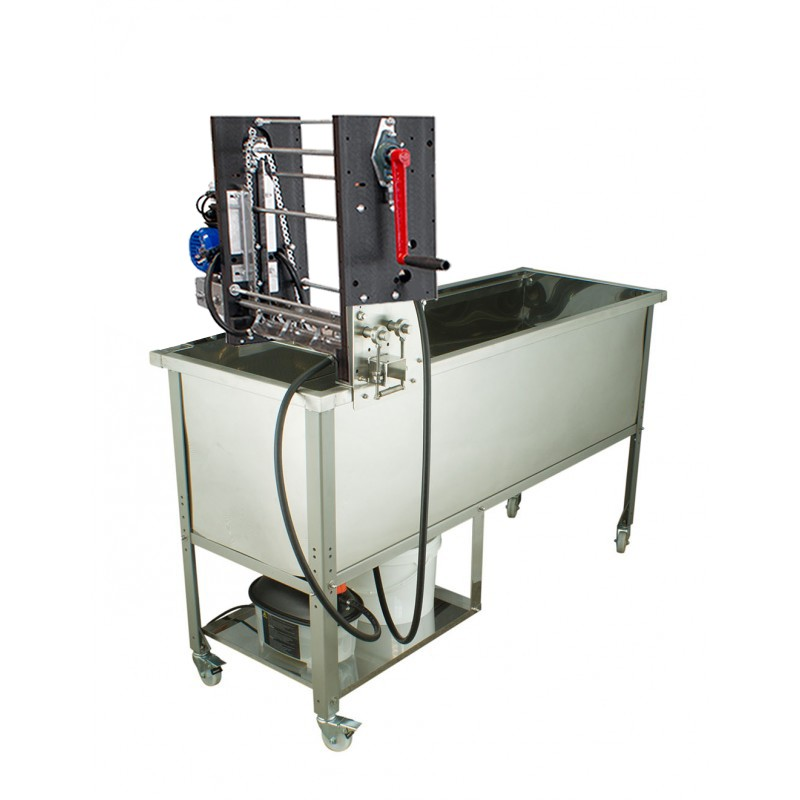 Manual feed uncapping machine with uncapping tank
